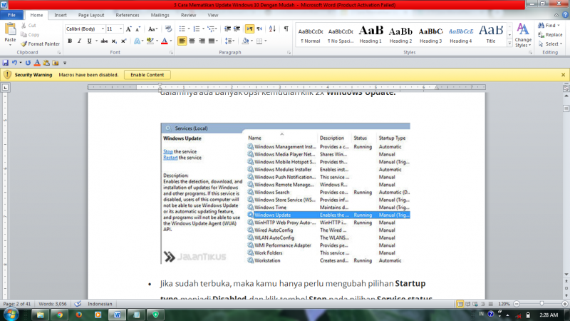 cara mematikan windows update windows 10