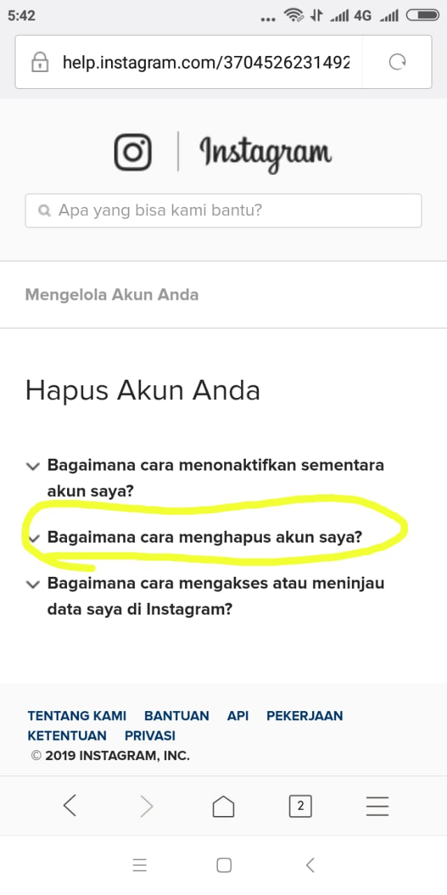 bagaimana cara menghapus akun instagram di Iphone
