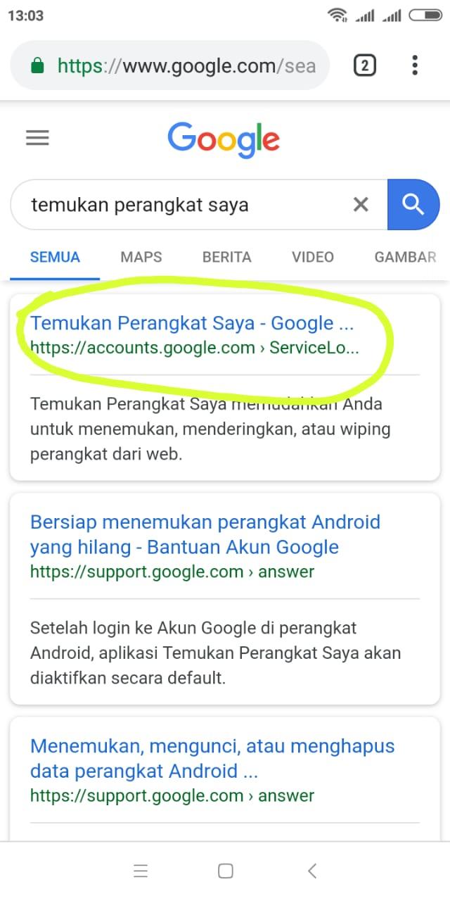 temukan perangkat saya dengan google