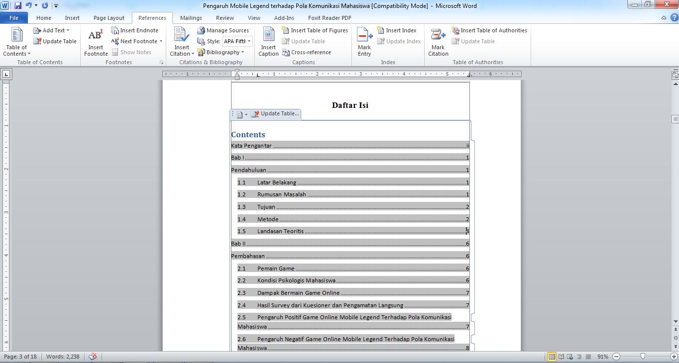 Cara Membuat Daftar Isi Secara Otomatis Di Ms Word