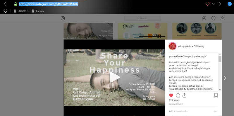 Cara download film di instagram
