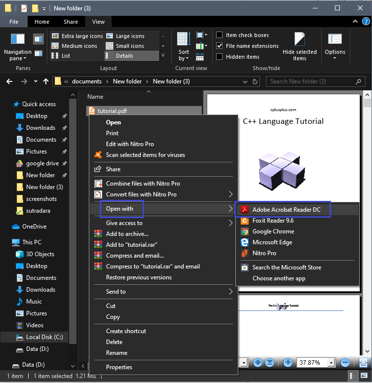 Open with >> Adobe Acrobat Reader DC