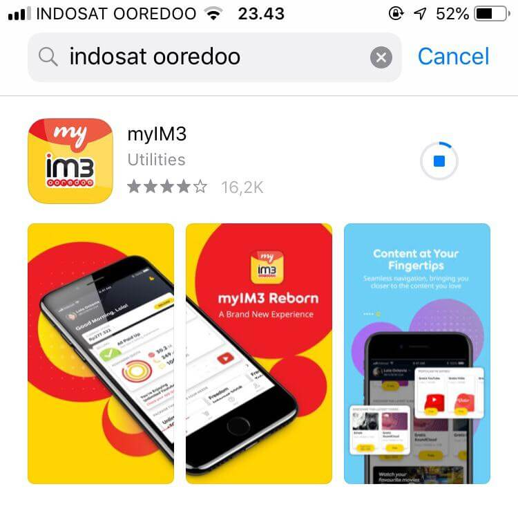 Download aplikasi myIM3 di App Store
