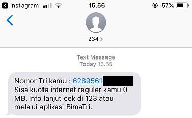 Ada SMS dari 234 tentang info kuota.