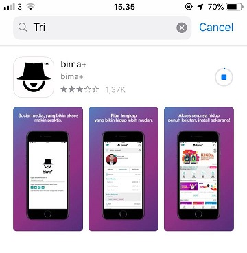 Download dan install bima+.
