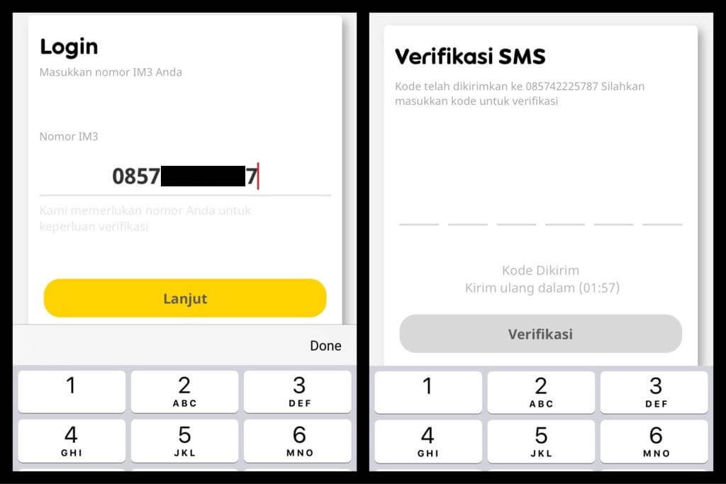 Login dan verifikasi nomor telepon