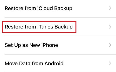Pilih restore from itunes backup