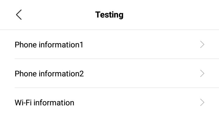 Gambar Menu Testing di Telepon