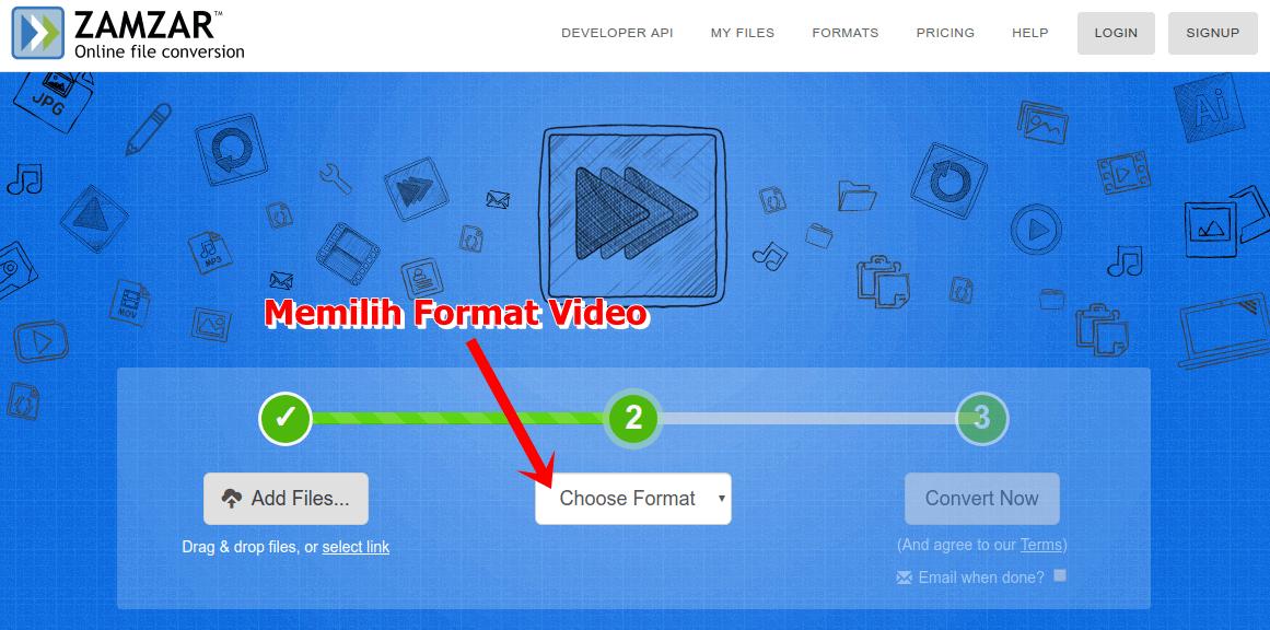 Klik combobox Choose Format