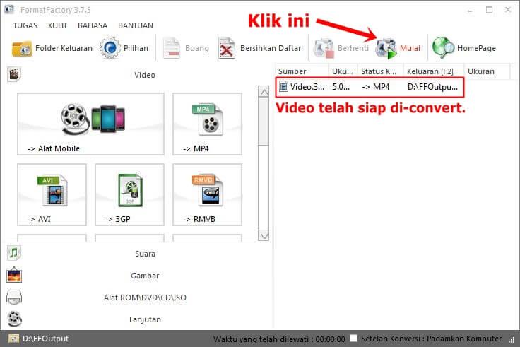Video bisa mulai di-conver dengan klik mulai