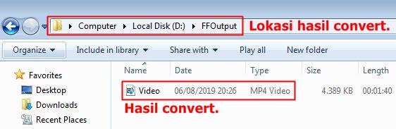 Hasil convert dari Format Factory di lokasi penyimpanan