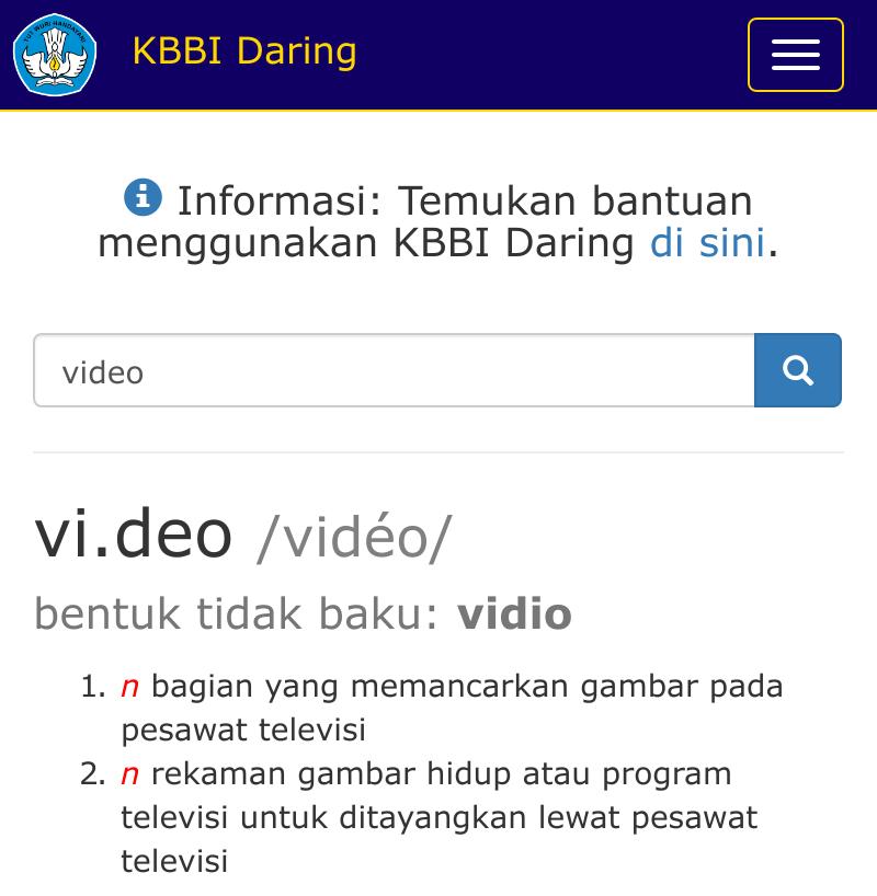 Arti video di KBBI