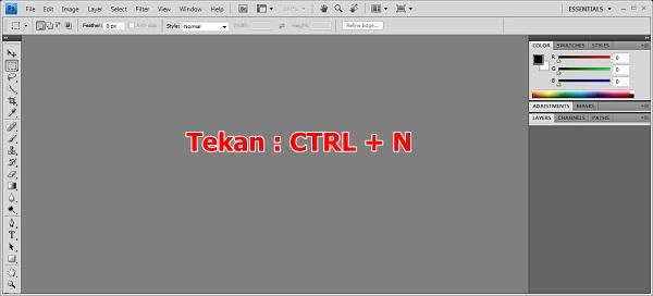 tekan CTRL + N untuk memulai dokumen baru