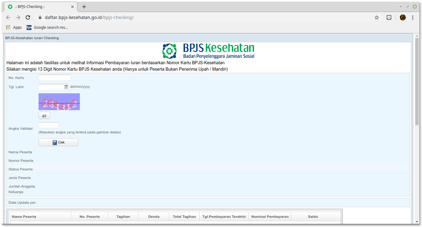 Cek tagihan bpjs melalui situs resmi bpjs