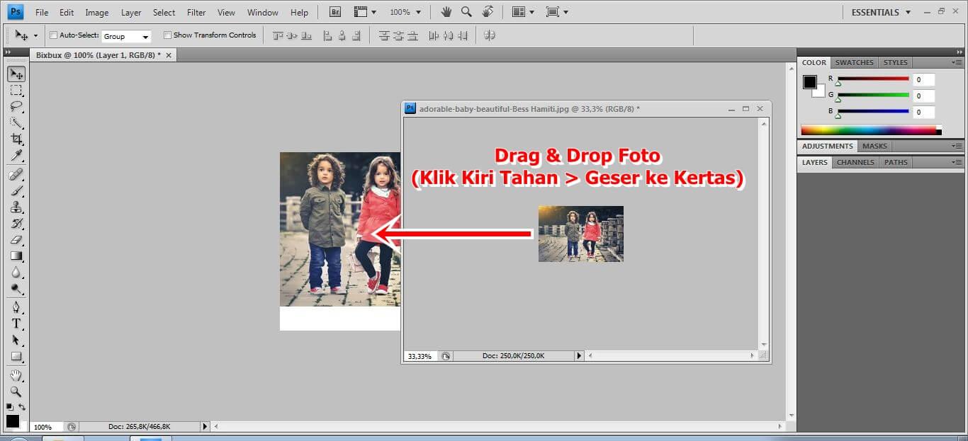 proses drag & drop dari foto ke kertas putih