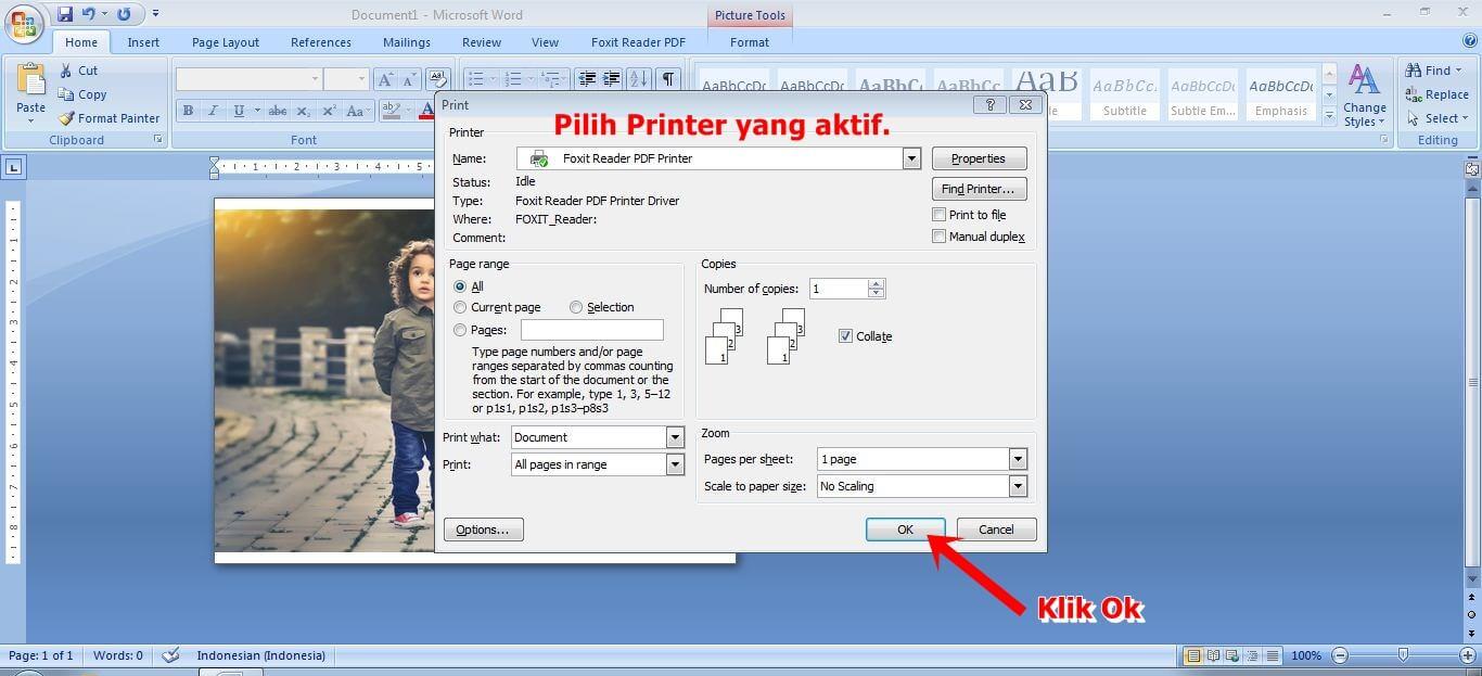 mengatur printer dan kertas yang akan digunakan