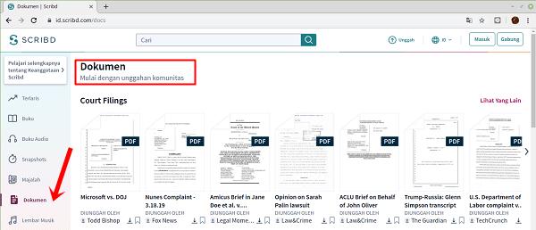 Pilih dokumen (hanya dokumen yang bisa di download)