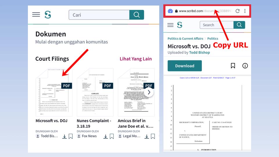 Pilih dokumen PDF >> Copy URL Dokumen