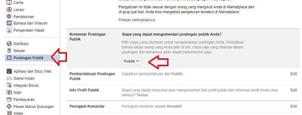 klik postingan publik