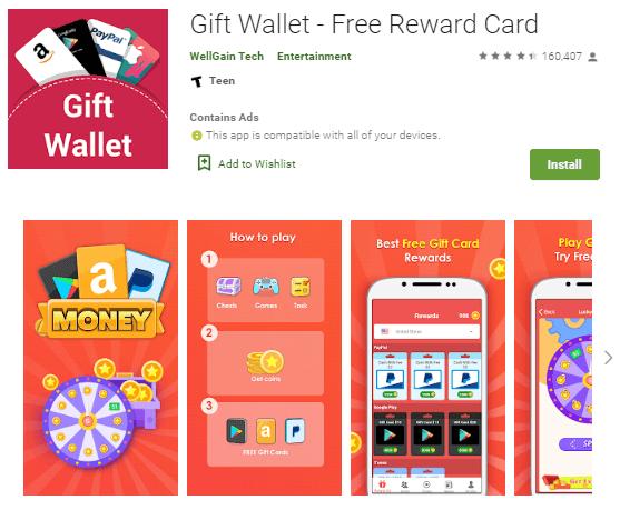 Screenshot Gift Wallet