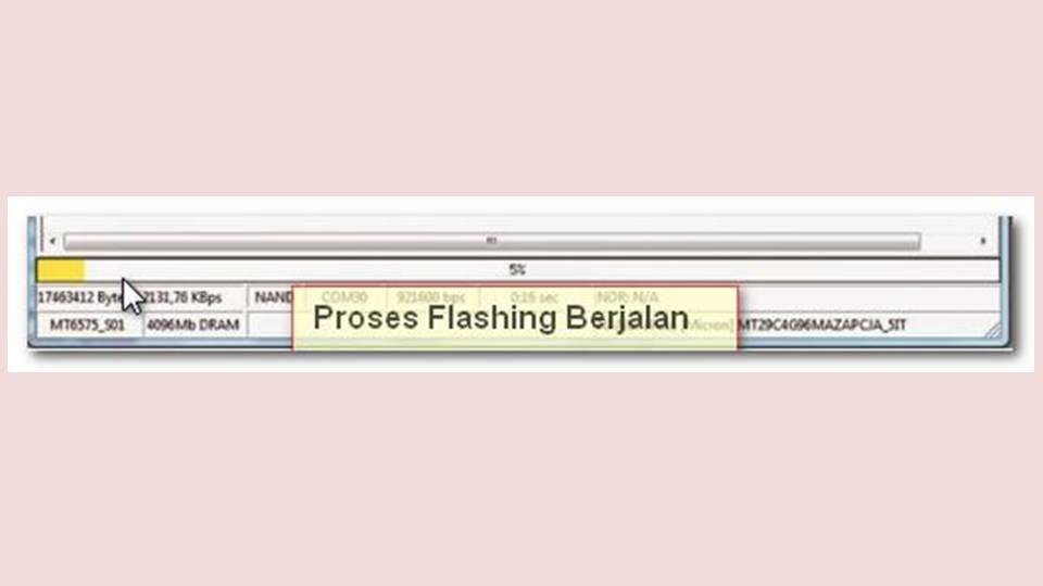 progress bar yang berjalan pada SP Flashtool