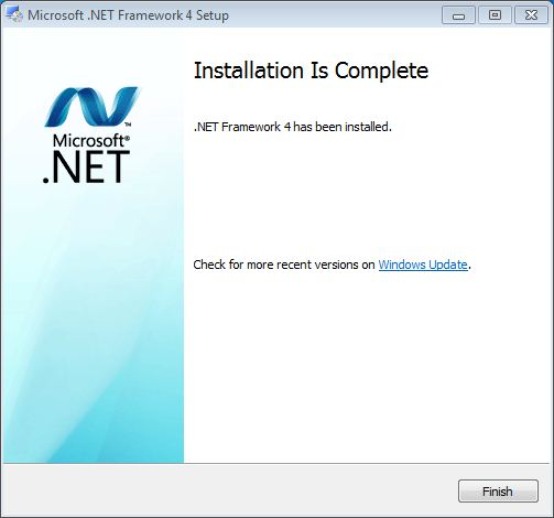 Net Framework versi 4 telah terinstall