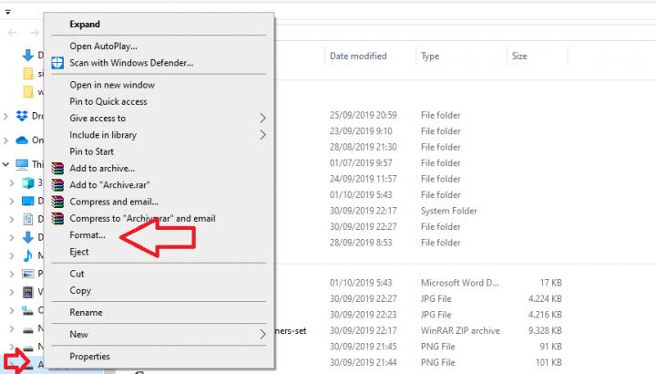 klik format pada disk yang dipilih