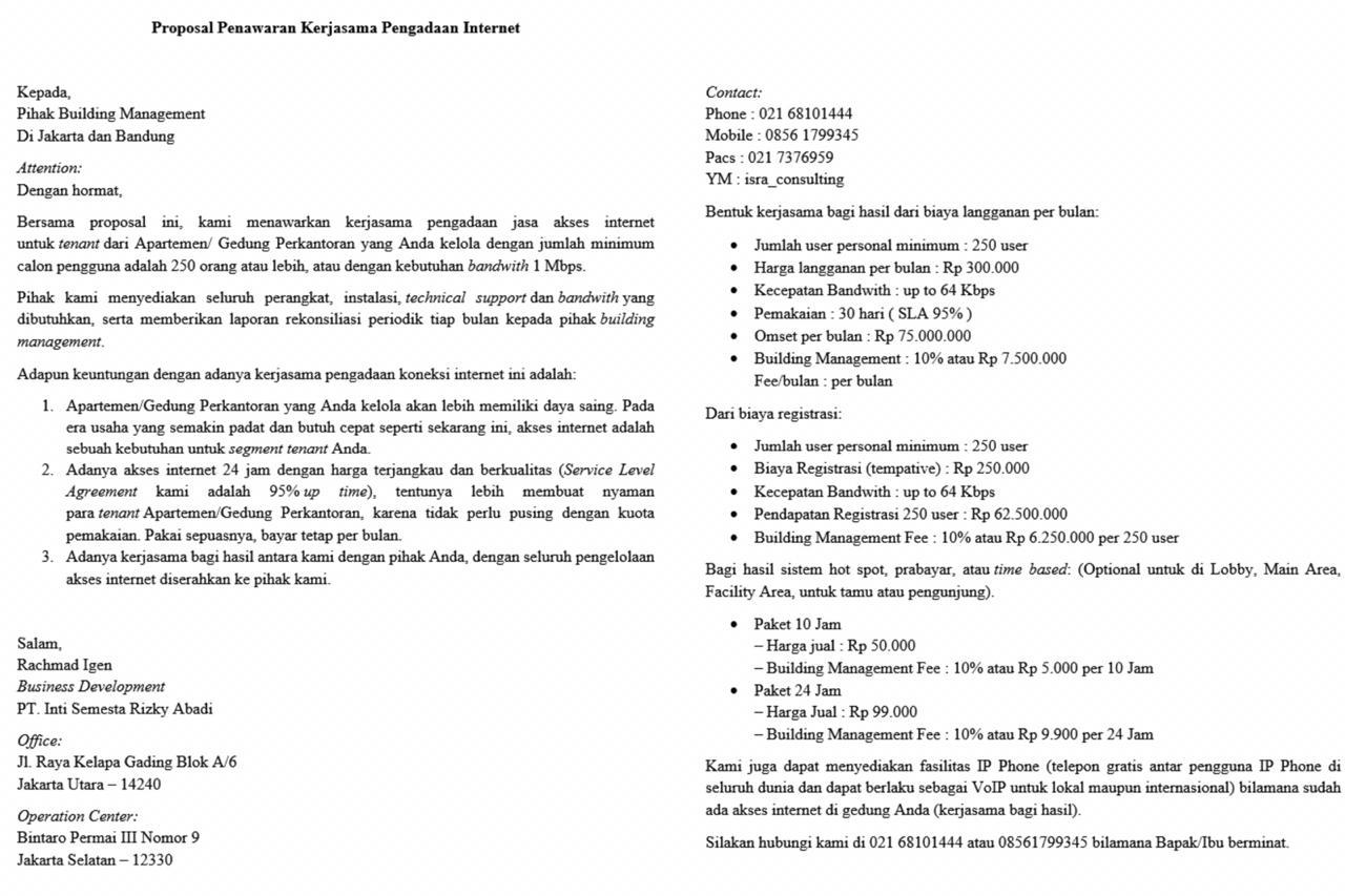 Contoh Proposal Kerjasama